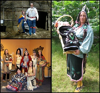 Collage of Native American people wearing traditional Abenaki clothing