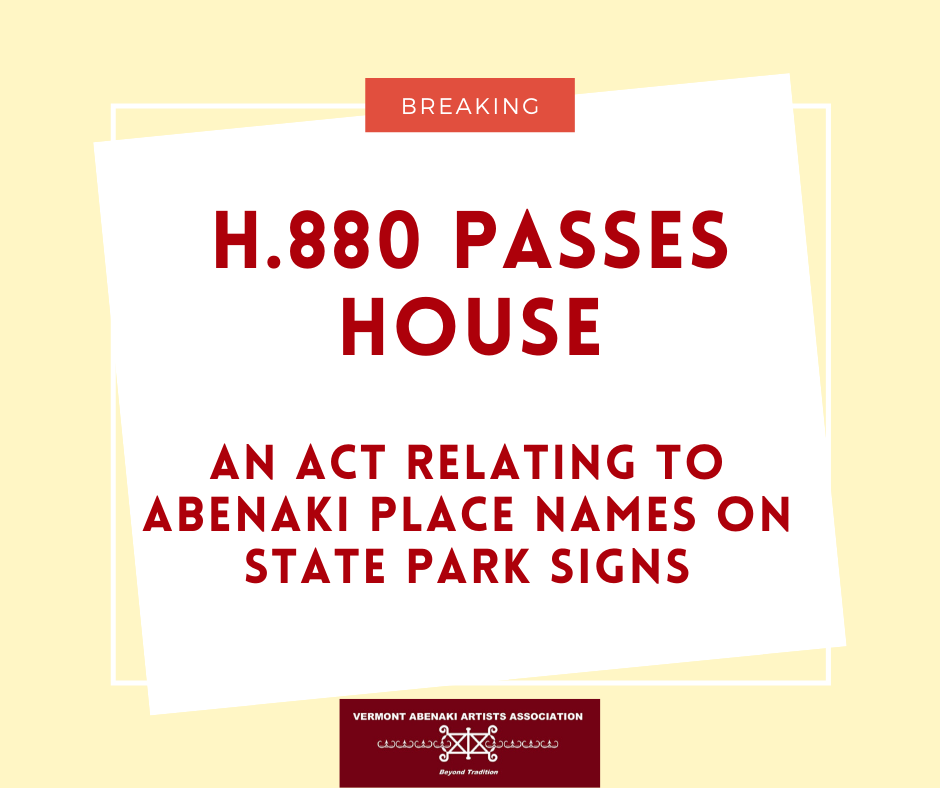 "H.880 ""An act relating to Abenaki place names on State park signs"""
