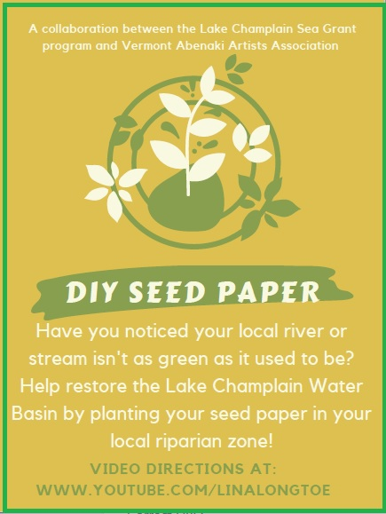 """Poster with images of leaves. The text says, """" DIY Seed Paper. Have you noticed your local river or stream  isn't as green as it used to be? Help restore Lake Champlain water basin by planting your seed paper in your local riparian zone."""