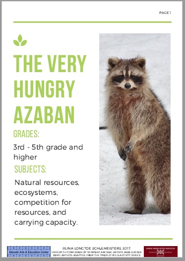 This is an image of the booklet, with a standing raccon in the middle of the cover and a wrtten description of the grade levels, and topics included in thebooket.