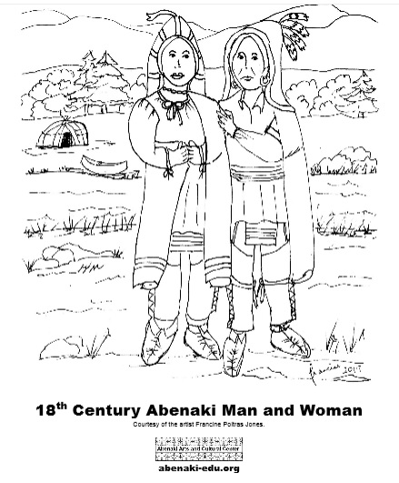 This is a coloring sheet with an Abenaki woman and man wearing 18th century style Abenaki clothing.